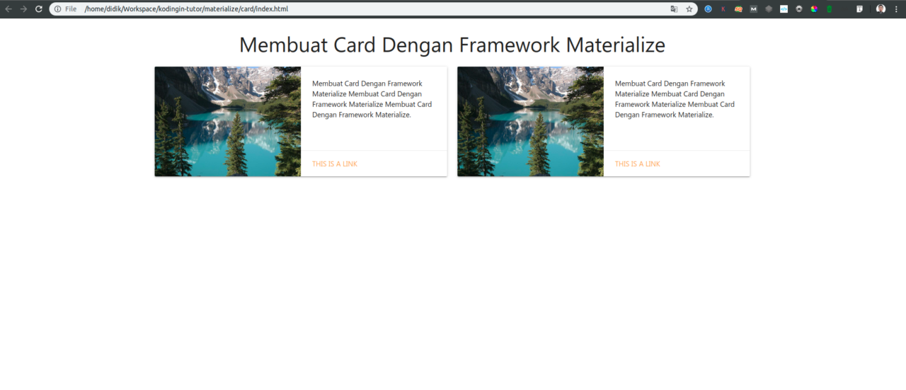 Membuat Horizontal Card