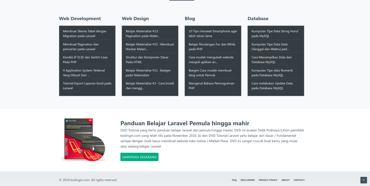 Cara Membuat Footer Materialize